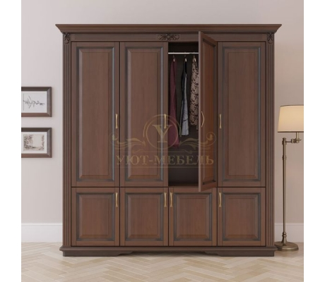 Шкаф 4 створчатый из массива Палермо дверцы внизу