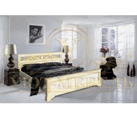 Деревянная односпальная кровать Лира с резьбой