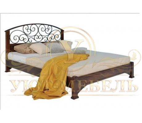 Деревянная односпальная кровать Омега с ковкой 2