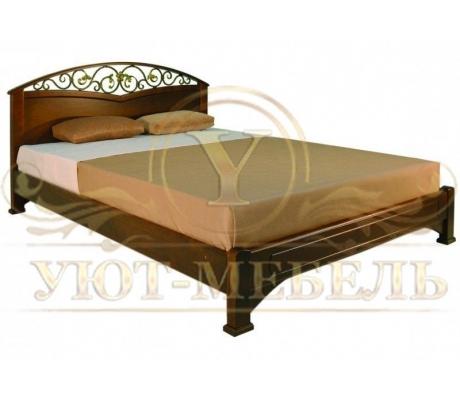 Деревянная двуспальная кровать из массива Омега с ковкой 4