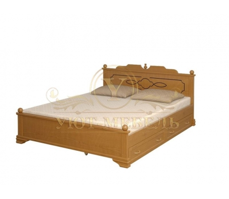 Деревянная двуспальная кровать из массива Афродита тахта