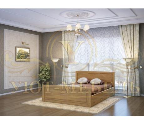 Деревянная двуспальная кровать из массива Ариель