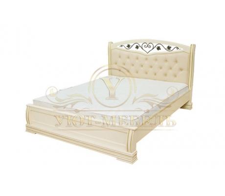 Деревянная двуспальная кровать из массива Сиена тахта с ковкой