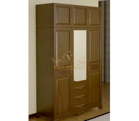 Шкаф из массива 3 створчатый Муза с зеркалом