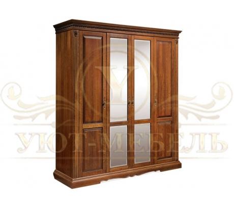 Шкаф из массива 4 створчатый Бостон с зеркалом