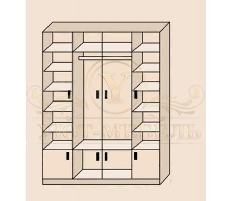 Шкаф из массива 4 створчатый Фиджи с антресолями внизу