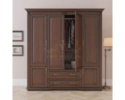 Шкаф 4 створчатый из массива Палермо с ящиками