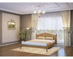 Деревянная двуспальная кровать из массива Герцог тахта с рисунком