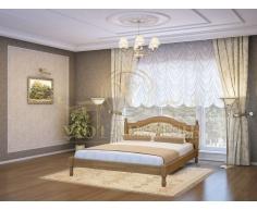 Деревянная двуспальная кровать из массива Герцог тахта со вставкой