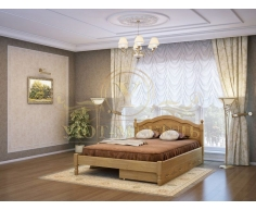 Деревянная двуспальная кровать из массива Лама тахта
