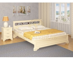 Деревянная двуспальная кровать из массива Лира тахта с ковкой