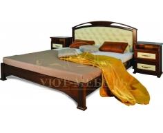Деревянная двуспальная кровать из массива Омега сетка со вставкой