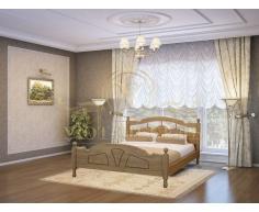 Деревянная двуспальная кровать из массива Солнце