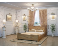 Деревянная двуспальная кровать из массива Соната