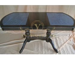 Обеденный стол из березы Илья кермогранит темный