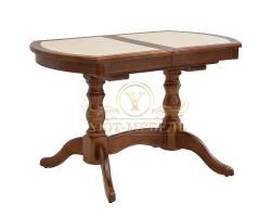 Обеденный стол из березы Илья кафельный радиусный