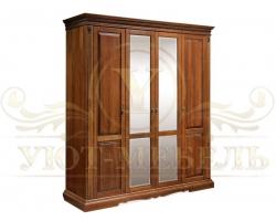 Шкаф из массива сосны 4 створчатый Бостон с зеркалом