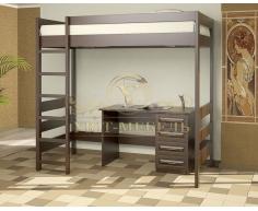 Двухъярусная кровать из массива Икея чердак с письменным столом